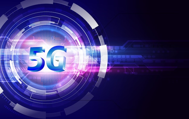 Concetto di rete di comunicazione di 5g e sfondo tecnologico. internet e connessione ad alta velocità.