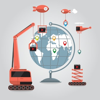 Comunicazione business online al globo in giro per il mondo con connessione