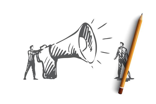 Comunicazione, altoparlante, megafono, concetto di annuncio. persona disegnata a mano con schizzo di concetto di grande megafono.