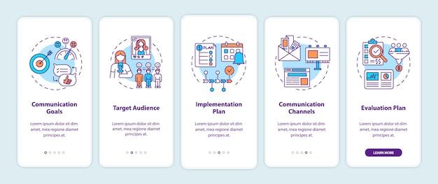 Componenti della strategia di comunicazione onboarding schermata della pagina dell'app mobile con concetti