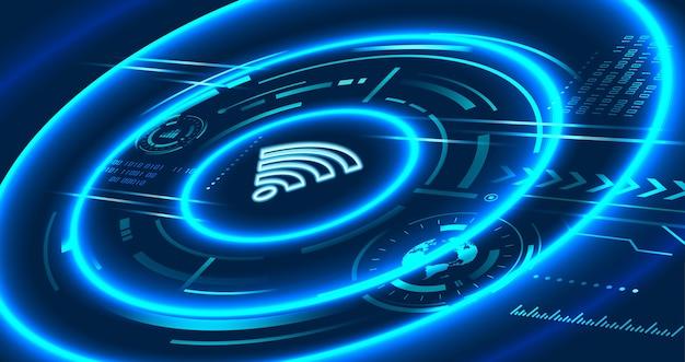 Tecnologia di comunicazione nel concetto futuristico, icona del segno wifi, internet wireless e ad alta velocità