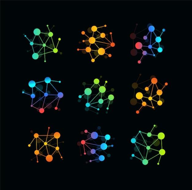 Icona della tecnologia di comunicazione. puntini colorati collegati da linee, una rete di cerchi modello logo. emblema moderna idea.