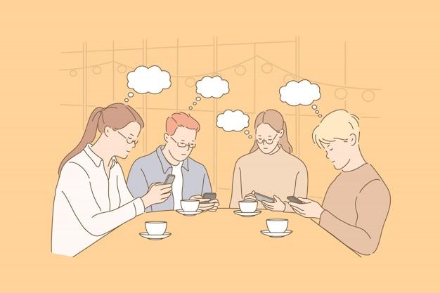 Comunicazione, bolla di pensiero, dipendenza, affari, illustrazione di lavoro di squadra