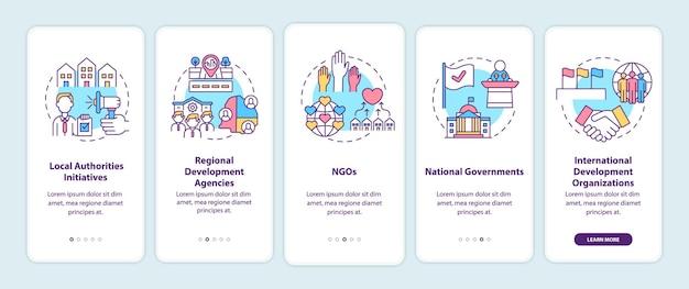 I programmi di sviluppo della comunità livellano la schermata della pagina dell'app mobile con i concetti. Vettore Premium