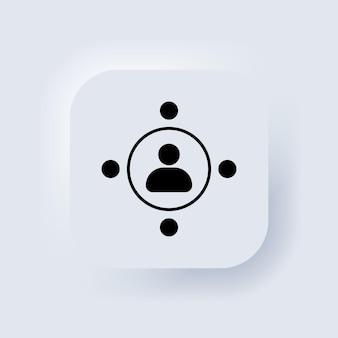 Insieme di logo dell'icona della comunità. icona di lavoro di squadra. il concetto di un incontro collettivo di persone e molto lavoro. pulsante web dell'interfaccia utente bianco neumorphic ui ux. neumorfismo. vettore eps 10.