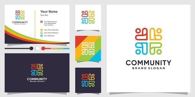 Modello di logo della comunità con concetto di linea astratta e design di biglietti da visita vettore premium
