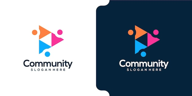 Persone della comunità nel design del logo a forma di triangolo