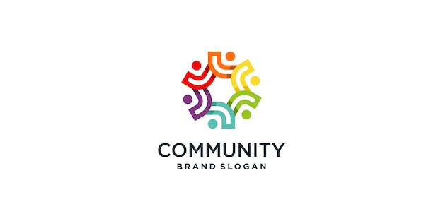 Estratto del logo del lavoro di squadra e della comunità premium vector parte 1