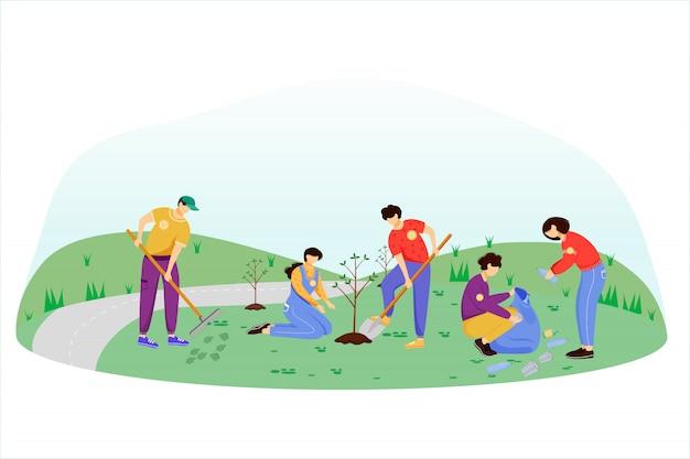 Illustrazione piana di giorno di lavoro della comunità. i volontari, attivisti hanno isolato i personaggi dei cartoni animati su fondo bianco. giovani che puliscono immondizia e che piantano alberi. concetto di protezione dell'ambiente