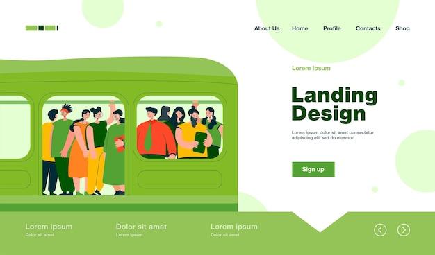 Pagina di destinazione del concetto di pendolarismo, trasporto e sovrappopolazione in stile piatto