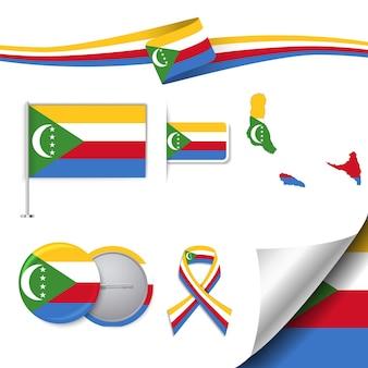 Bandiera delle comore con elementi