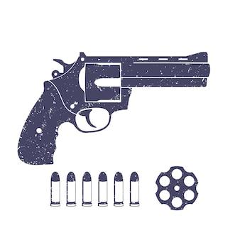 Revolver compatto, pistola, cilindro del revolver, cartuccia, proiettili, pistola isolata su bianco, illustrazione