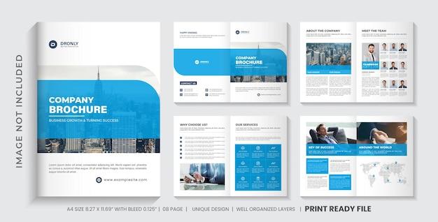 Layout del modello di brochure aziendale con accento blu o design di brochure aziendale multipagina di colore blu