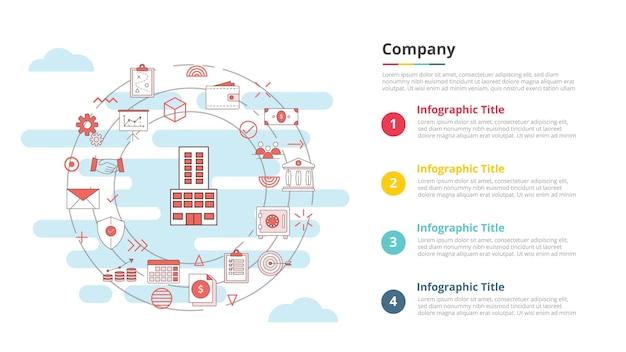 Concetto di business aziendale per banner modello infografico con illustrazione vettoriale di informazioni sull'elenco a quattro punti