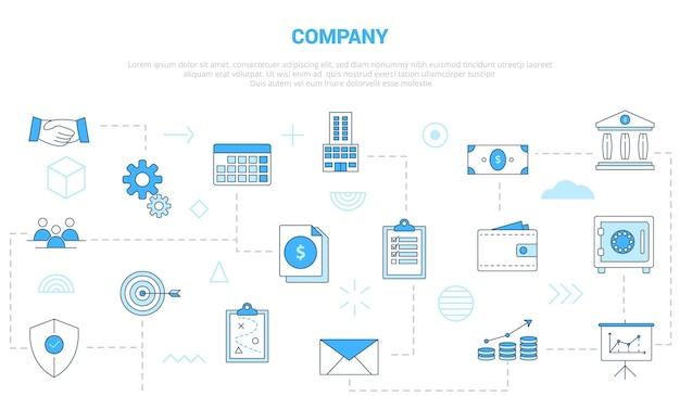 Concetto di affari dell'azienda con l'insegna del modello dell'insieme dell'icona con l'illustrazione moderna di vettore di stile di colore blu