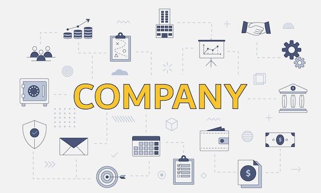 Concetto aziendale con set di icone con grandi parole o testo al centro
