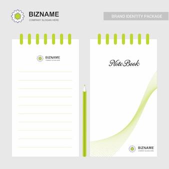 Blocco note design aziendale con logo vettoriale