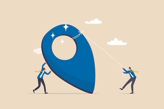 Costituzione dell'azienda, imprenditorialità, avvio di nuove attività, creazione di un pin aziendale nel concetto di mappa del motore di ricerca, pin dell'ufficio della costruzione del fondatore dell'azienda di uomo d'affari che crea l'indirizzo di contatto aziendale.