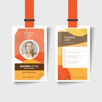 Modello di carta d'identità anteriore e posteriore dell'azienda