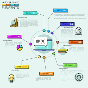 Modello di progettazione di società infografica panoramica in stile linea sottile