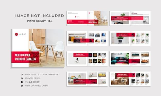Modello di progettazione del catalogo dei prodotti dell'azienda o progettazione della brochure del prodotto orizzontale