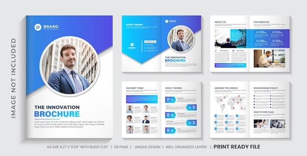Progettazione del layout del modello di brochure del profilo aziendale o modello di progettazione di brochure minimalista multi pagine