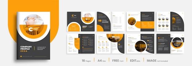 Modello di layout del modello di brochure del profilo aziendale, design minimalista del modello di brochure aziendale di forma di colore arancione