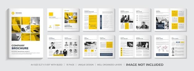 Progettazione del layout del modello di brochure del profilo aziendale o progettazione del modello di brochure minima gialla