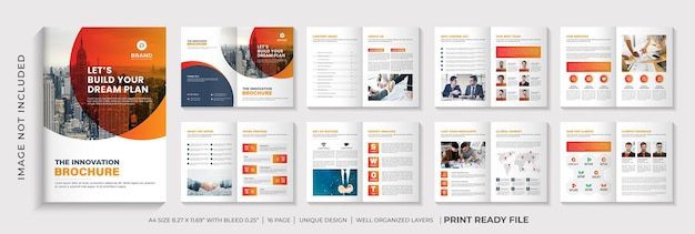 Layout del modello dell'opuscolo del profilo aziendale o design dell'opuscolo minimalista con forma sfumata di colore arancione orange