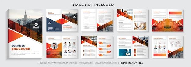 Layout del modello di brochure del profilo aziendale o design del modello di brochure aziendale con forme di colore arancione