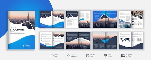 Profilo aziendale o identità visiva design brochure di 16 pagine premium vector