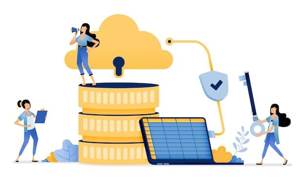 Dati di vendita dell'azienda caricati nel database del sistema cloud con rete crittografata