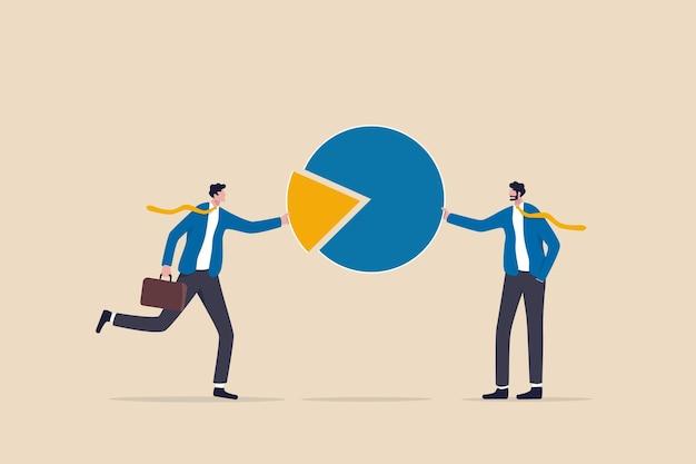 Azionista, investitore o proprietario della società che detiene una percentuale o un patrimonio di quote societarie, concetto di distribuzione del mercato, uomini d'affari che detengono parte della metafora del grafico a torta della partecipazione a azioni.