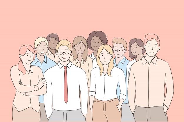 Personale dell'azienda, squadra, concetto di business
