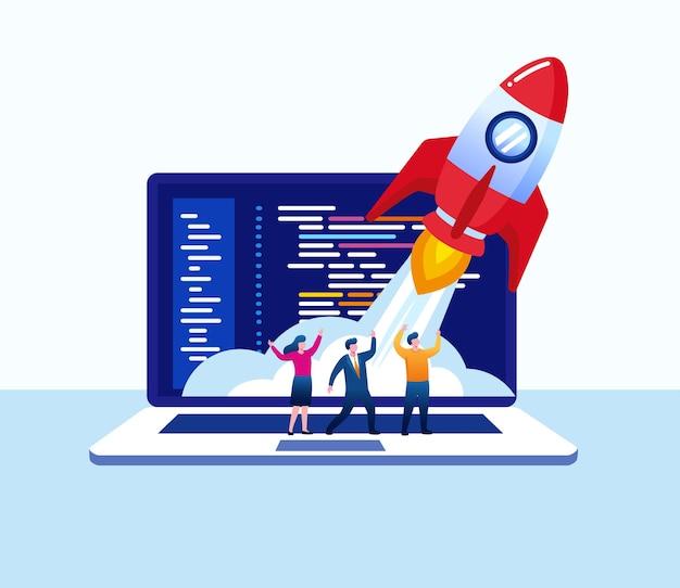 L'avvio dell'azienda rappresenta con il razzo. progetto, sviluppatore, programmatore. illustrazione vettoriale