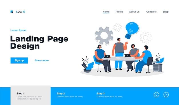 Brainstorming del team aziendale alla pagina di destinazione della riunione in stile piatto