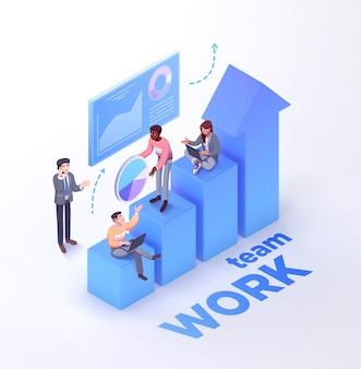 Lavoro di squadra dell'azienda che lavora insieme. i lavoratori si stanno muovendo verso il successo. illustrazione vettoriale