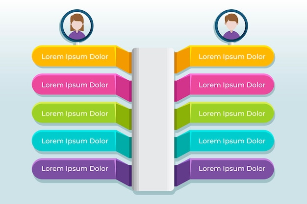 Grafico comparativo infografica Vettore Premium