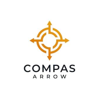 Ispirazione per il design del logo del marchio isolato freccia bussola