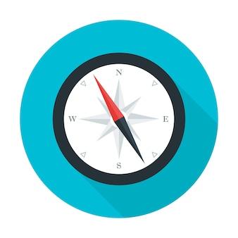 Icona del cerchio piatto bussola. illustrazione stilizzata piatta con ombra lunga