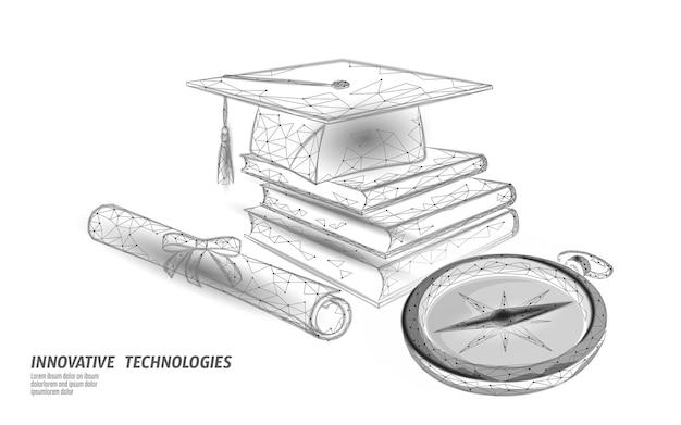 Bussola laurea cap educazione. concetto di distanza di e-learning. concetto di programma globale internazionale certificato di laurea. corso di formazione 3d low poly