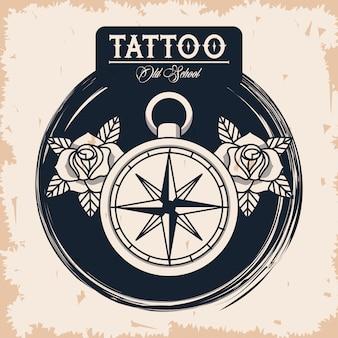 Logo della bussola guida tatuaggio studio