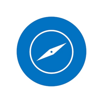 Bussola icona design piatto illustrazione vettoriale isolato su sfondo bianco
