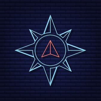 Icona della bussola. simbolo di navigazione piatto. icona al neon. illustrazione vettoriale.