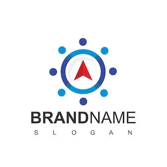 Modello di progettazione del logo della bussola logo di navigazione della guida di viaggio