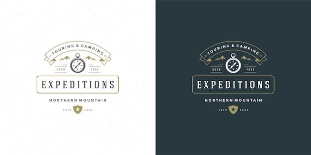 Bussola logo emblema illustrazione vettoriale avventura spedizione all'aperto per camicia o timbro di stampa. design distintivo tipografia vintage.