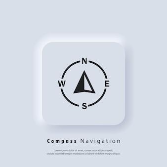 Marchio della bussola. icona della freccia del navigatore. tecnologia di navigazione, illustrazione personalizzabile di geolocalizzazione. cursore di guida gps. vettore eps 10. icona dell'interfaccia utente. ui neumorphic ux. neumorfismo