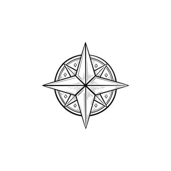 Icona di doodle di contorno disegnato a mano della rosa dei venti della bussola direzione e navigazione marittima, concetto di viaggio e avventura
