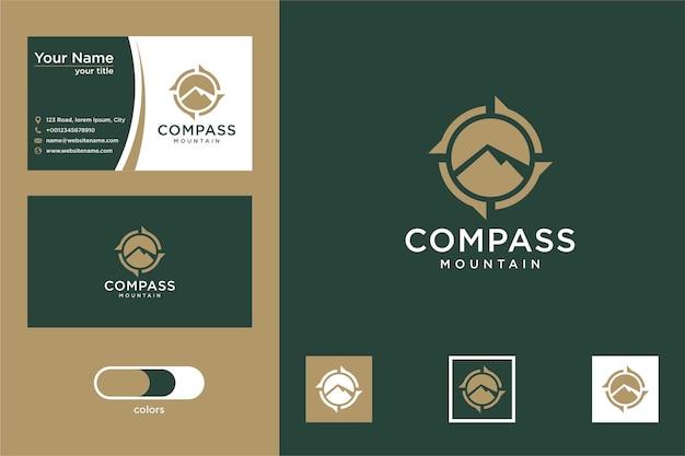 Bussola con design moderno del logo di montagna e biglietto da visita