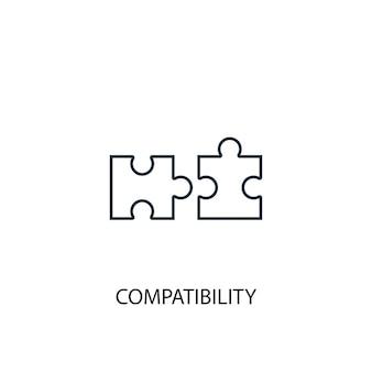 Icona della linea del concetto di compatibilità. illustrazione semplice dell'elemento. disegno di simbolo di contorno del concetto di compatibilità. può essere utilizzato per ui/ux mobile e web